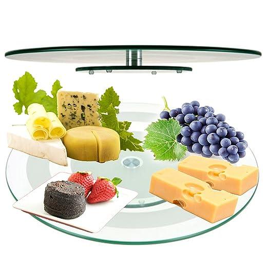 Plato giratorio de cristal de 45 cm para servir queso o ...