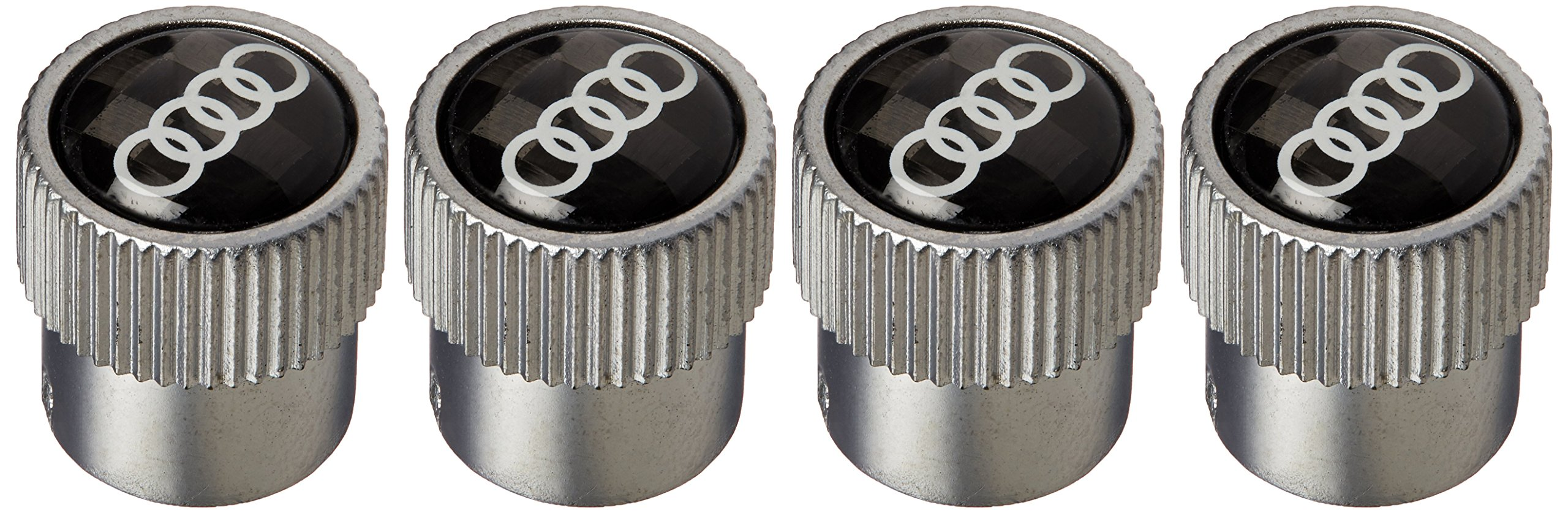 Audi New Carbon Fiber Valve Stem Caps with Rings Logo Set of 4