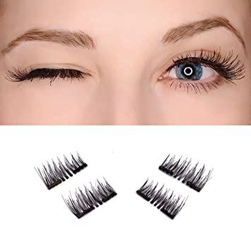 64840f23782 Amazon.com : Hawkko New Easy To Wear 3D Magnetic False Eyelashes 1 Pair (4  Piece) Double Magnet Full Strip Magnetic Soft Hair Reusable Fake Eye Lashes  ...