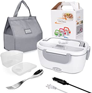 Electric Lunch Box for Car and Home 110V & 12V 40W - Removable Stainless Steel Portable Food Grade Material Warmer Heater - with Fork & Spoon & Carry Bag (Gray)