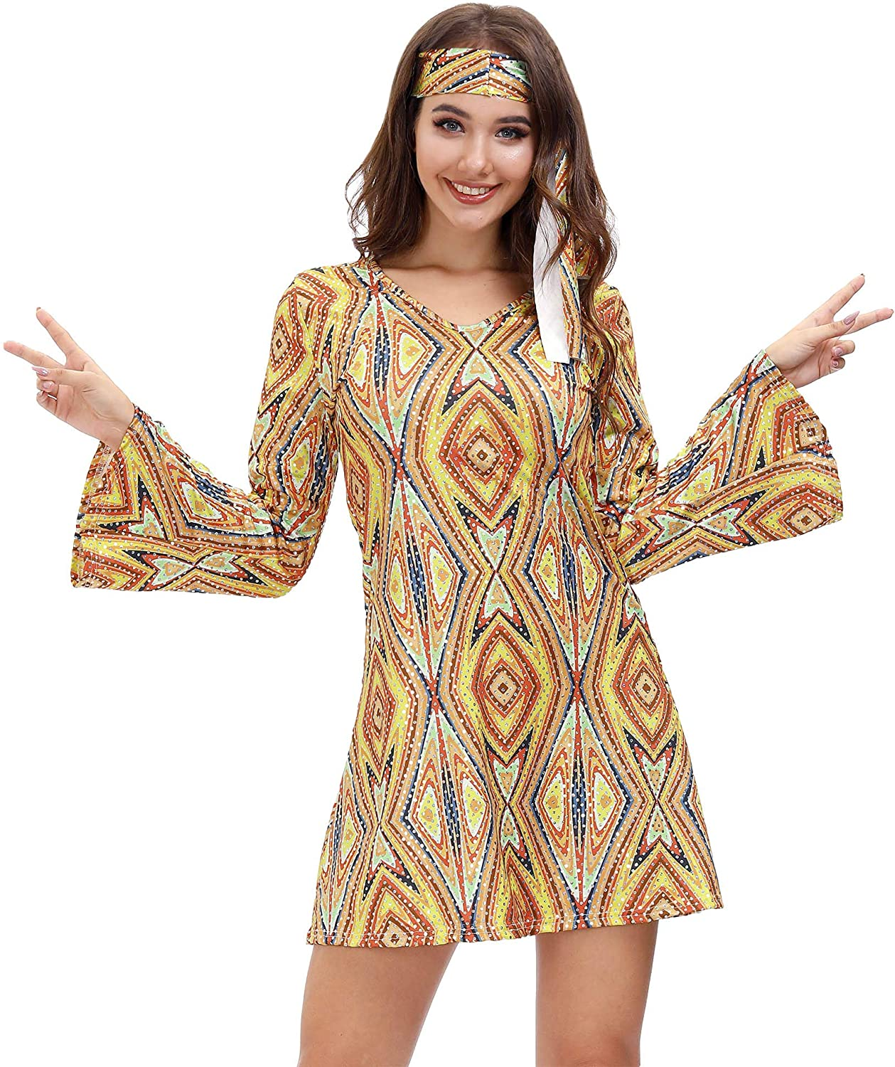 Hippie Dress | Long, Boho, Vintage, 70s Clarisbelle Womens Halloween Party Disco Sensation 70s Dance Costume  AT vintagedancer.com