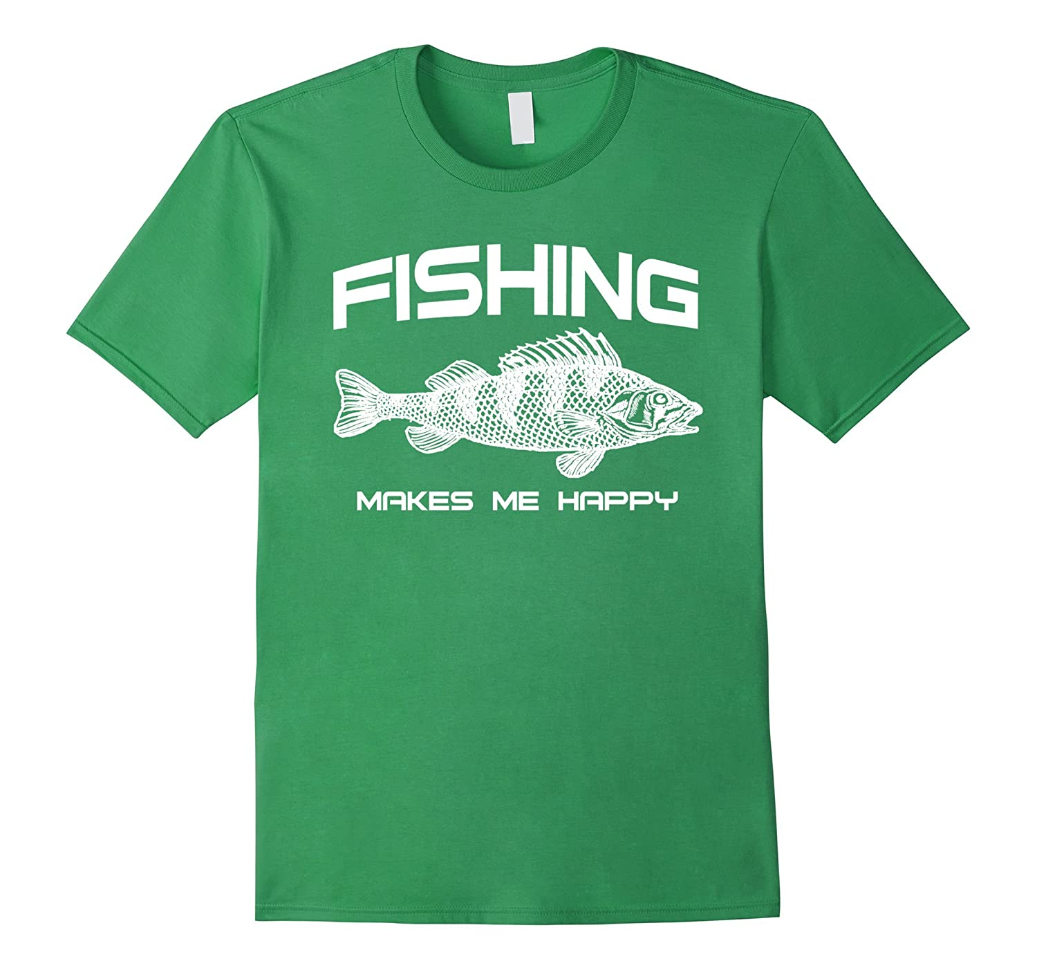 Fish on shirts fishing makes me happy t shirt goatstee for How to get fish smell out of clothes