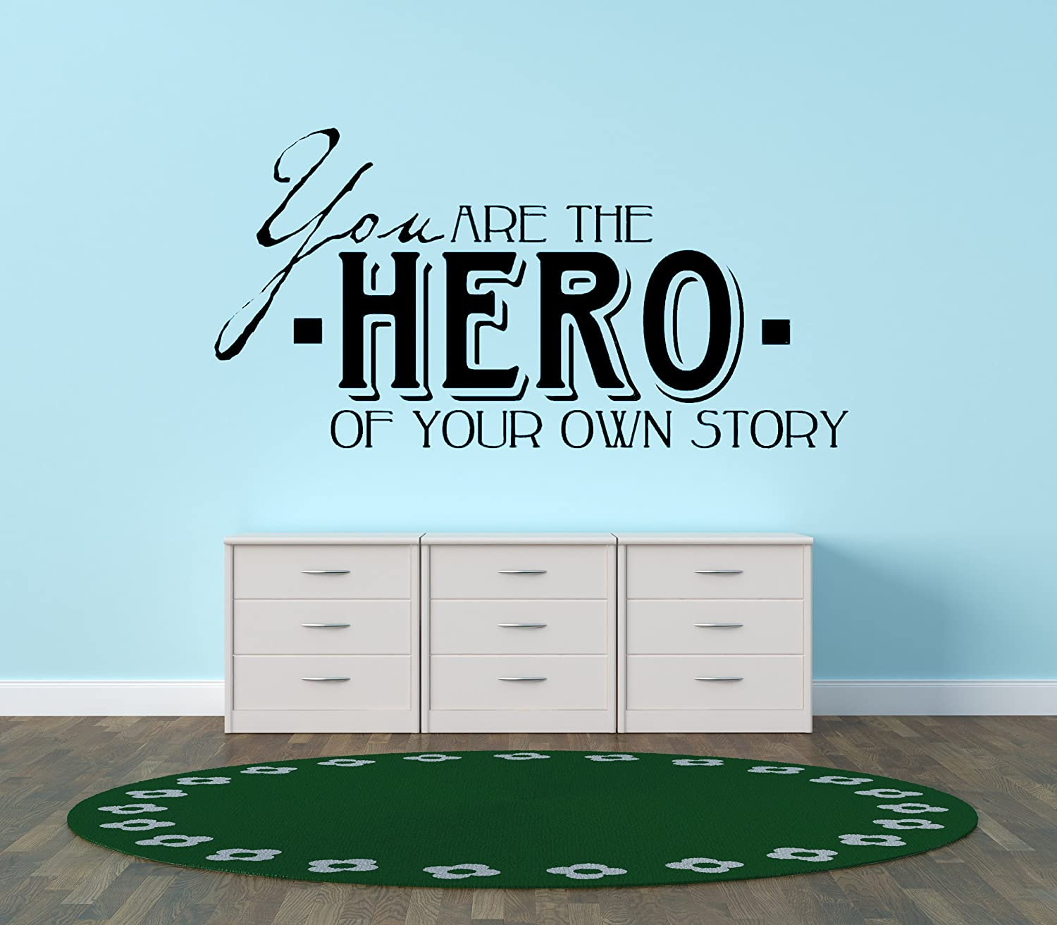 Design with Vinyl You Are The Hero Of Your Own Story Picture Art - Peel & Stick Vinyl Wall Decal Sticker Size : 20x20 Color : Black Black by Design with Vinyl B00H1YNRIK