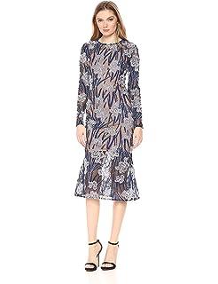 b38f73e51ed3 Elliatt Women's Apparel Women's Long Sleeve Embroidered Floral Midi Flare  Sheath Dress