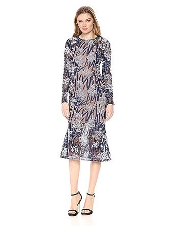 112237442f04 Elliatt Women's Apparel Women's Long Sleeve Embroidered Floral Midi Flare  Sheath Dress at Amazon Women's Clothing store: