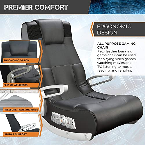 X Rocker, 5143601, II SE 2.1 Black Leather Floor Video Gaming Chair for Adult