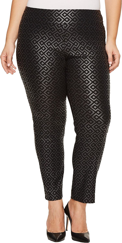 Black Geometric Print Krazy Larry Women's Pull On Ankle Pant