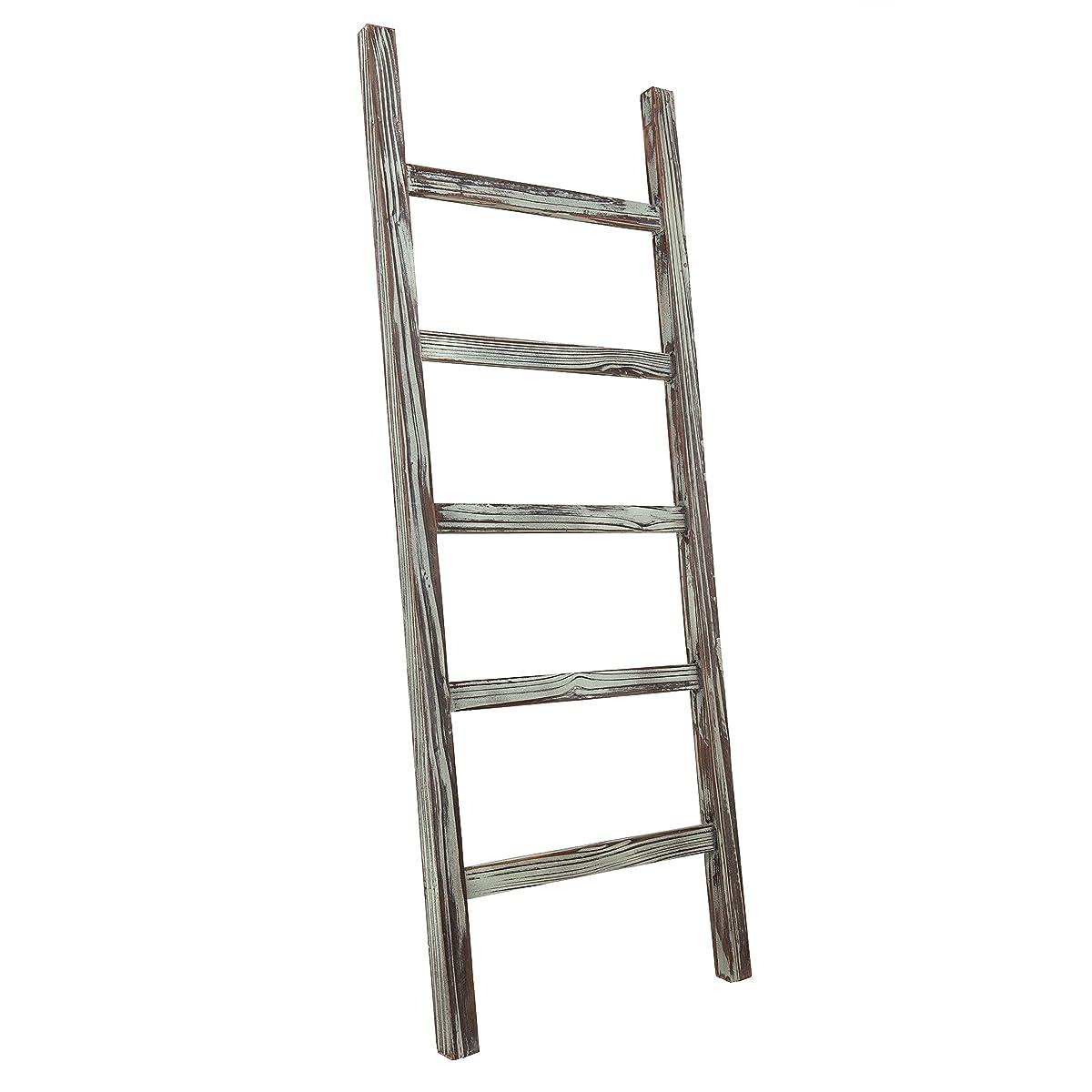 MyGift Decorative Rustic Barnwood 5-Rung Blanket Ladder Organizer, Hanging Towel Bar Rack - 48 x 19-inches