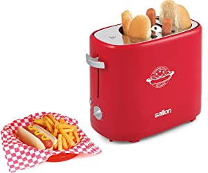 Salton Treats Pop-Up Toaster for Extra Large Authentic Stadium-Style Hot Dogs and Buns, With Bonus Mini Tongs Included, Perfect for Chicken, Turkey, Veggie Sausages and Brats, 650 Watts, Red (HD1911)