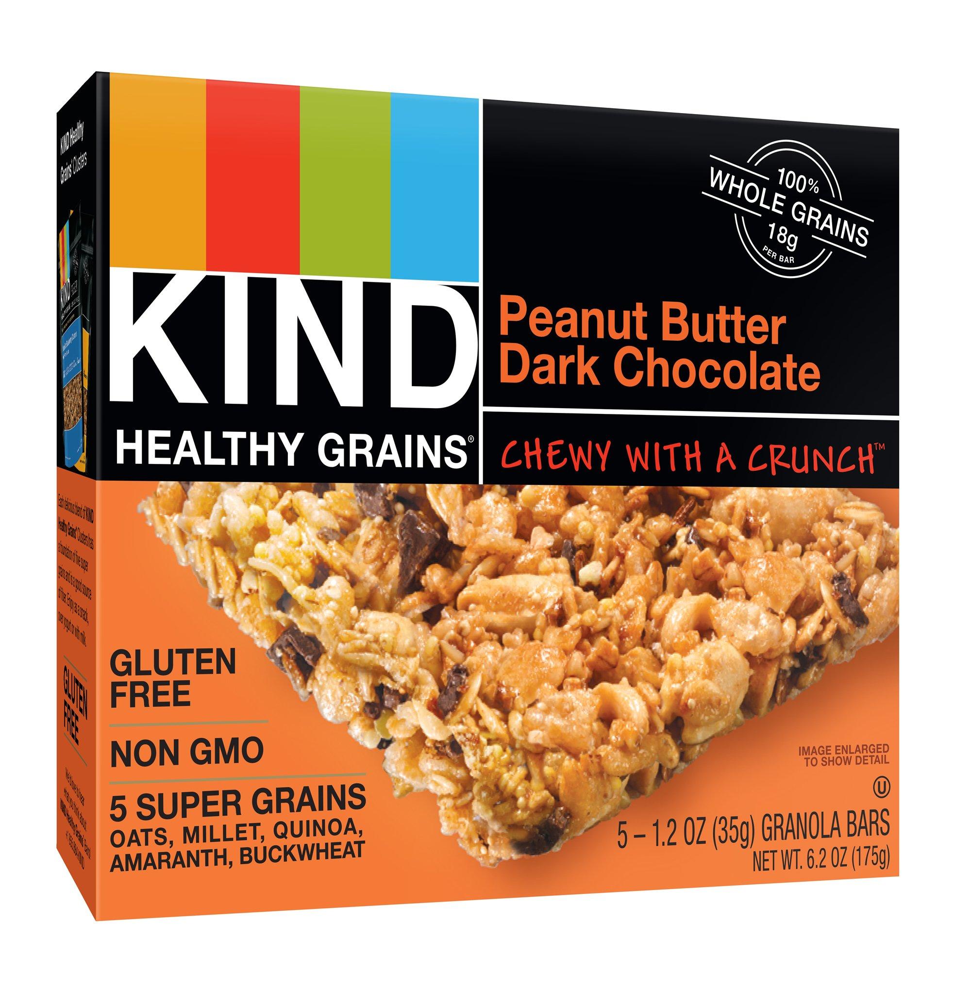 KIND Healthy Grains Bars, Peanut Butter Dark Chocolate, Non GMO, Gluten Free, 1.2oz, 15 Bars