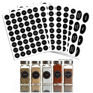 Hayley Cherie - 328 Printed Spice Jar and Pantry Label Set - Chalkboard 1.5  Round Stickers - Includes Extra Write-on Labels