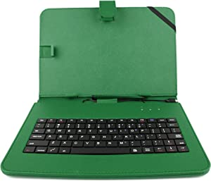 DURAGADGET Durable Green Faux Leather Protective Case Cover with Micro USB Keyboard & Built in Stand - Compatible with The Acer Iconia One 10 (B3-A20)   Acer Iconia Tab 10 A3-A40