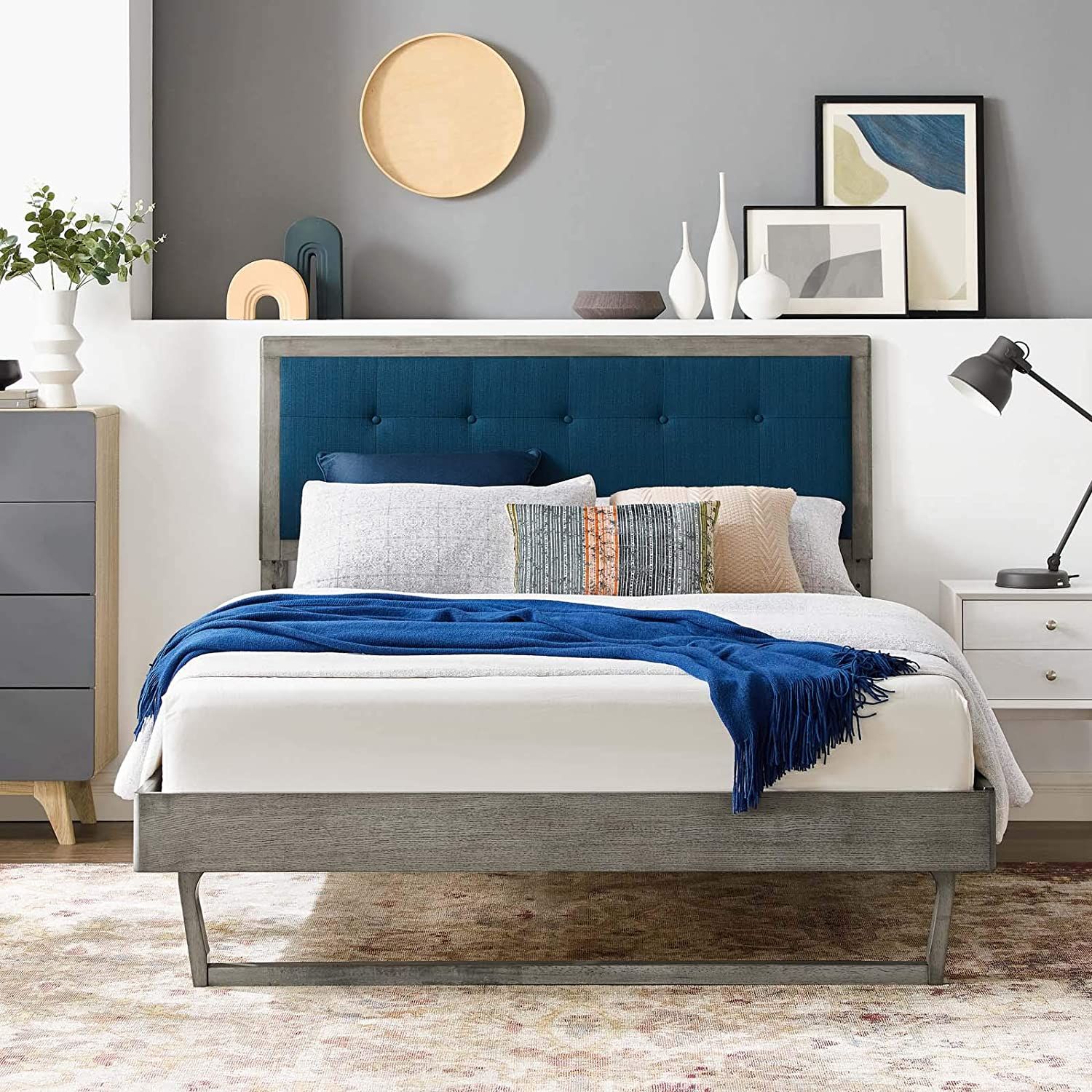 Modway Willow Wood Queen Platform Bed in Gray Azure with Angular Frame