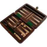 Backgammon Travel Set Wooden Board Hand Carved Game Folding Portable (6 Inches - Small)