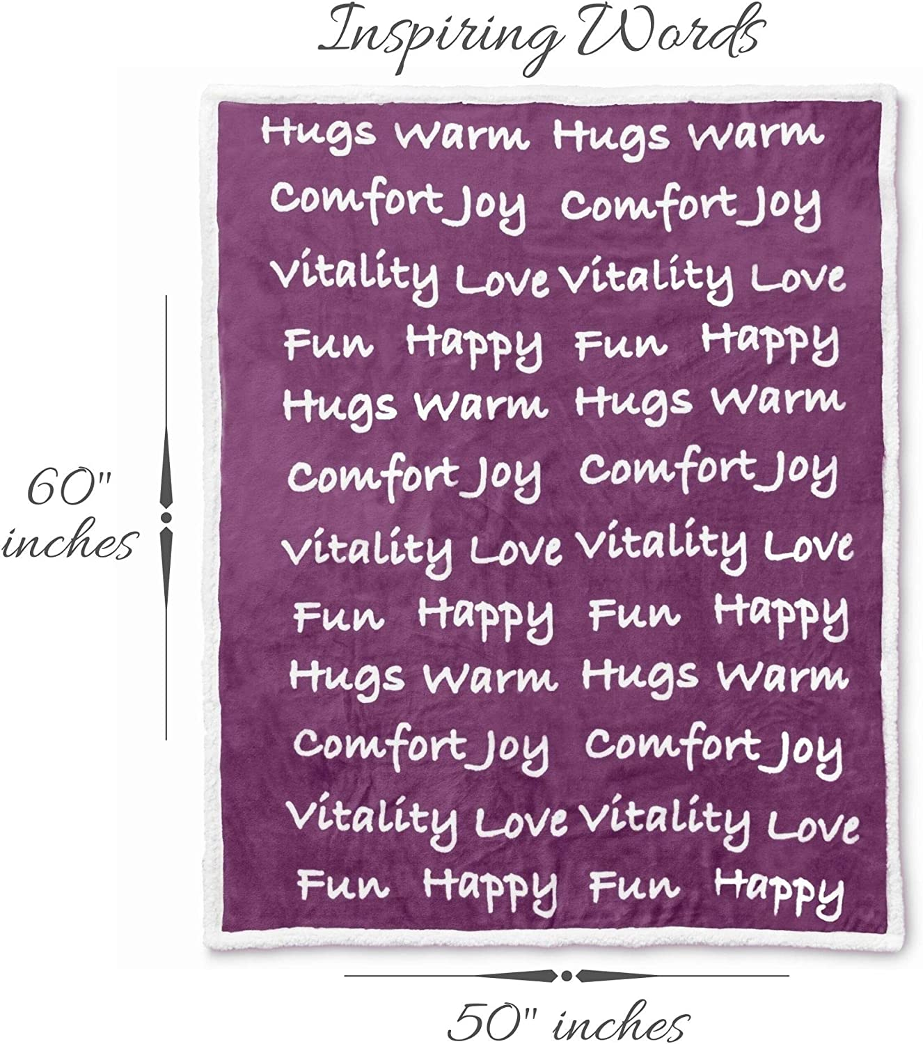 Thick Sherpa Fabric Sleep and Recovery Healing Thoughts Throw Blanket Warm Purple Cancer Patients Get Well Gift for Men and Women Encouragement and Positive Energy