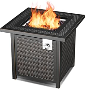 28'' Propane Fire Pit Table with 50,000 BTU Auto-Ignition Gas Fire Pit, Outdoor Rattan & Wicker-Look Square Fire Table with Lid, ETL Approved,Adjustable Flame,Black