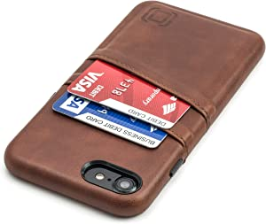 Dockem iPhone SE 2020, iPhone 8/7 Wallet Case: Synthetic Leather with 2 Card Holder Slots [Exec Brown]
