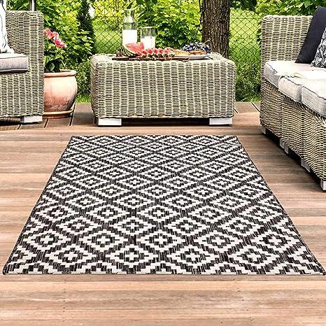 Carpet City Tapis D Extérieur Imperméable Pour Balcon Terrasse Motif Géométrique Moderne Anthracite Rouge Anthracite 160 Cm X 230 Cm