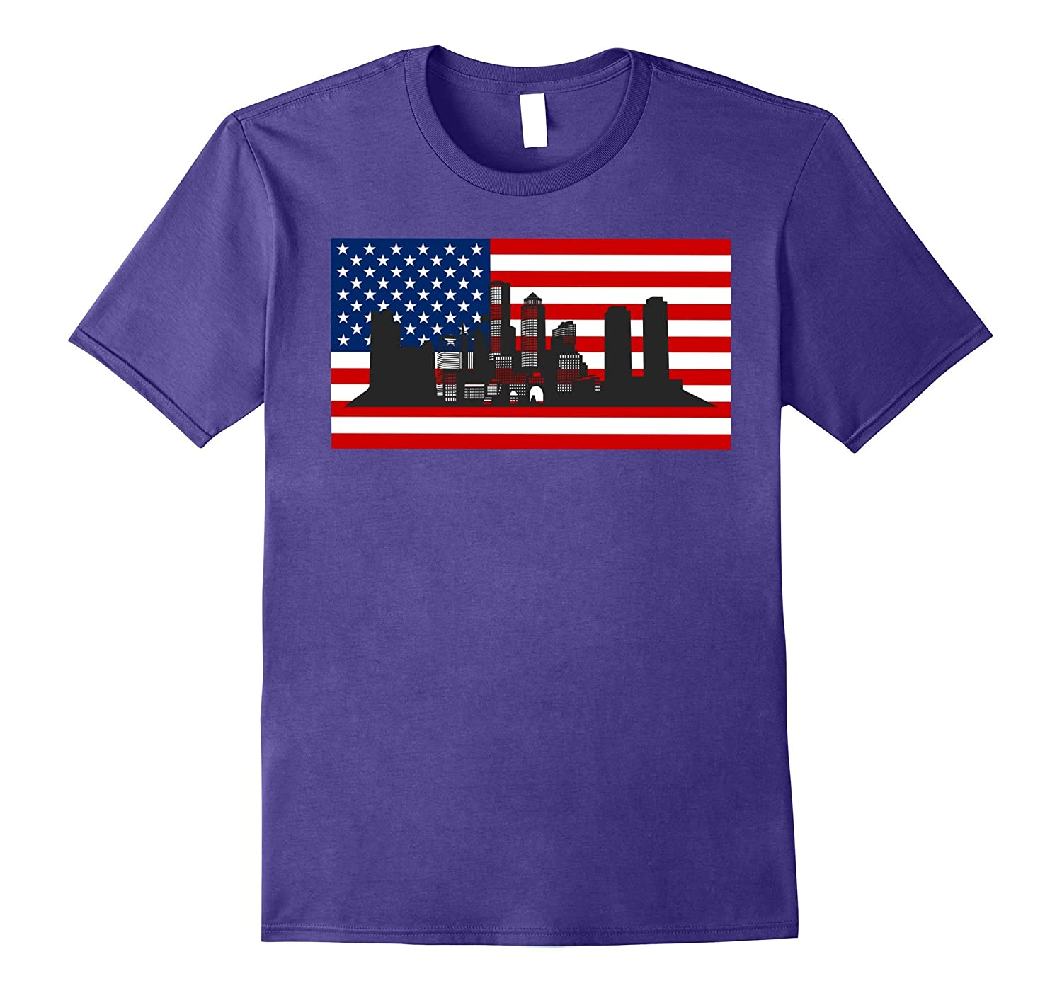 American Flag Boston Tshirt High Building 4th Of July Gifts-TH