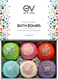 Earth Vibes Organic & Natural Bath Bombs Kit Set - Large Handmade Essential Oil Lush Fizzies Bubble Spa To Moisturize Dry Skin - Best Gift Ideas for Women, Girlfriend & Kids - 6 x 4.2 oz