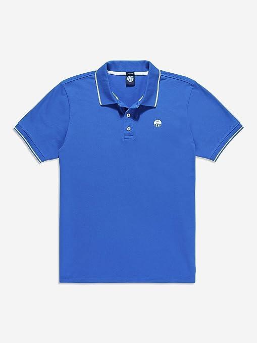 NORTH SAILS Slim Stretch Fluo Polo Azul con Rayas Cuello Blanco ...