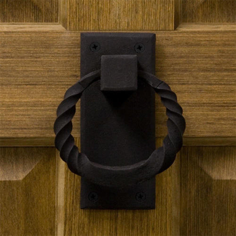 Casa Hardware Iron Twisted Ring Door Knocker in Black Finish