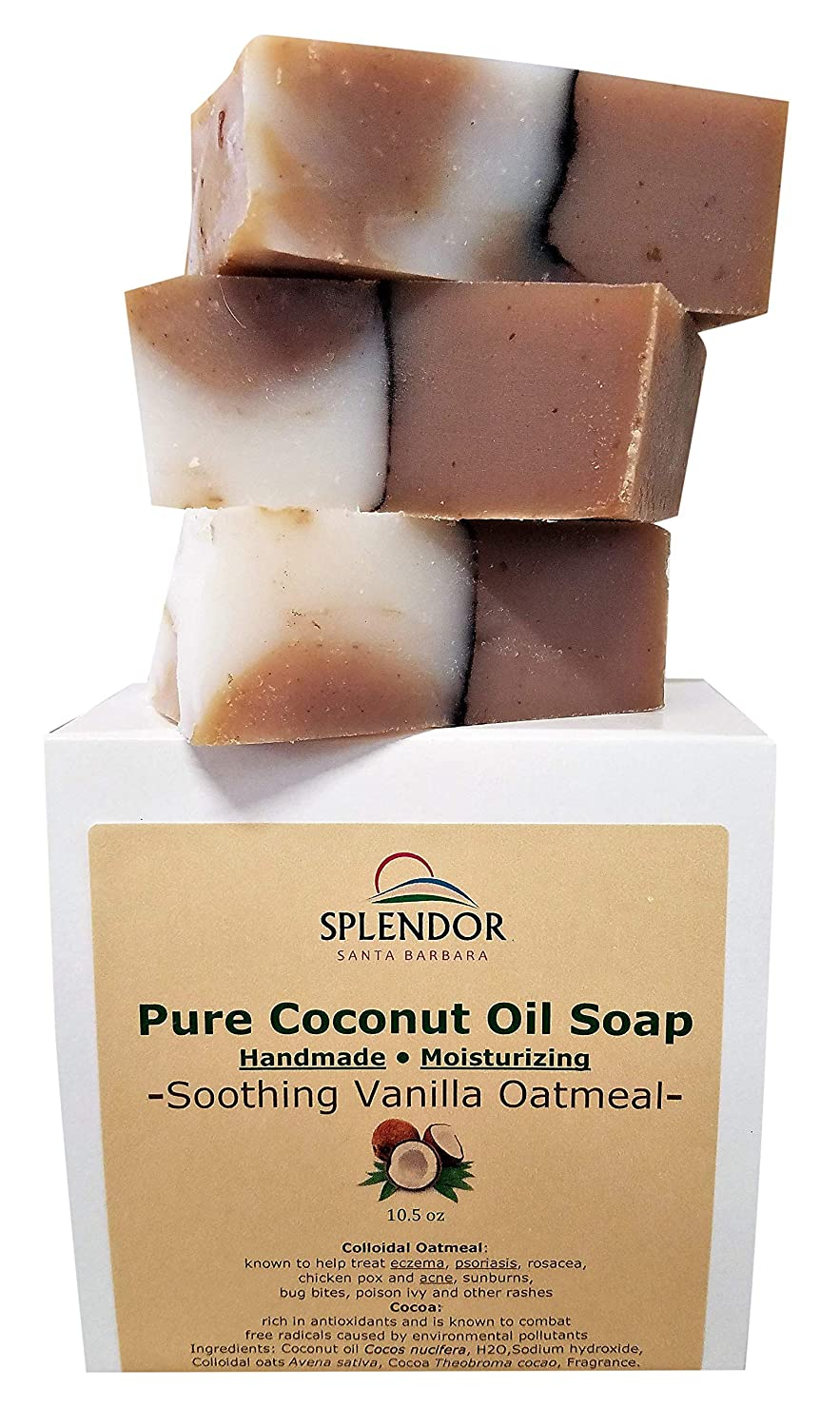 Soothing Vanilla Oatmeal (10.5 oz) - Pure & Natural Coconut Oil Hand, Face & Body Soap. Handmade, Vegan, Moisturizing, with Colloidal Gluten-Free Oats and Antioxidant-Rich Cocoa.