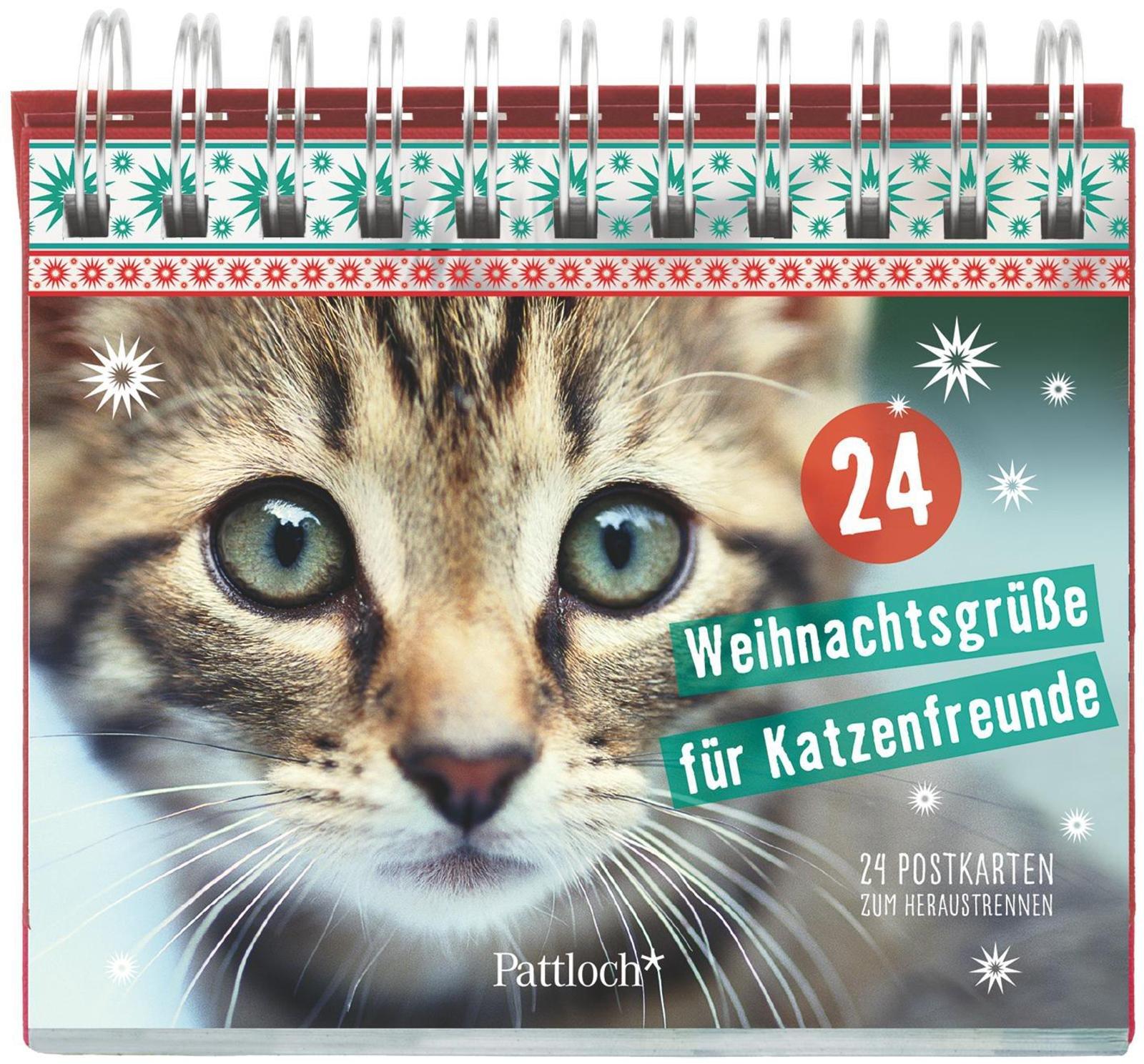24 Weihnachtsgrüße für Katzenfreunde: Kartenaufsteller