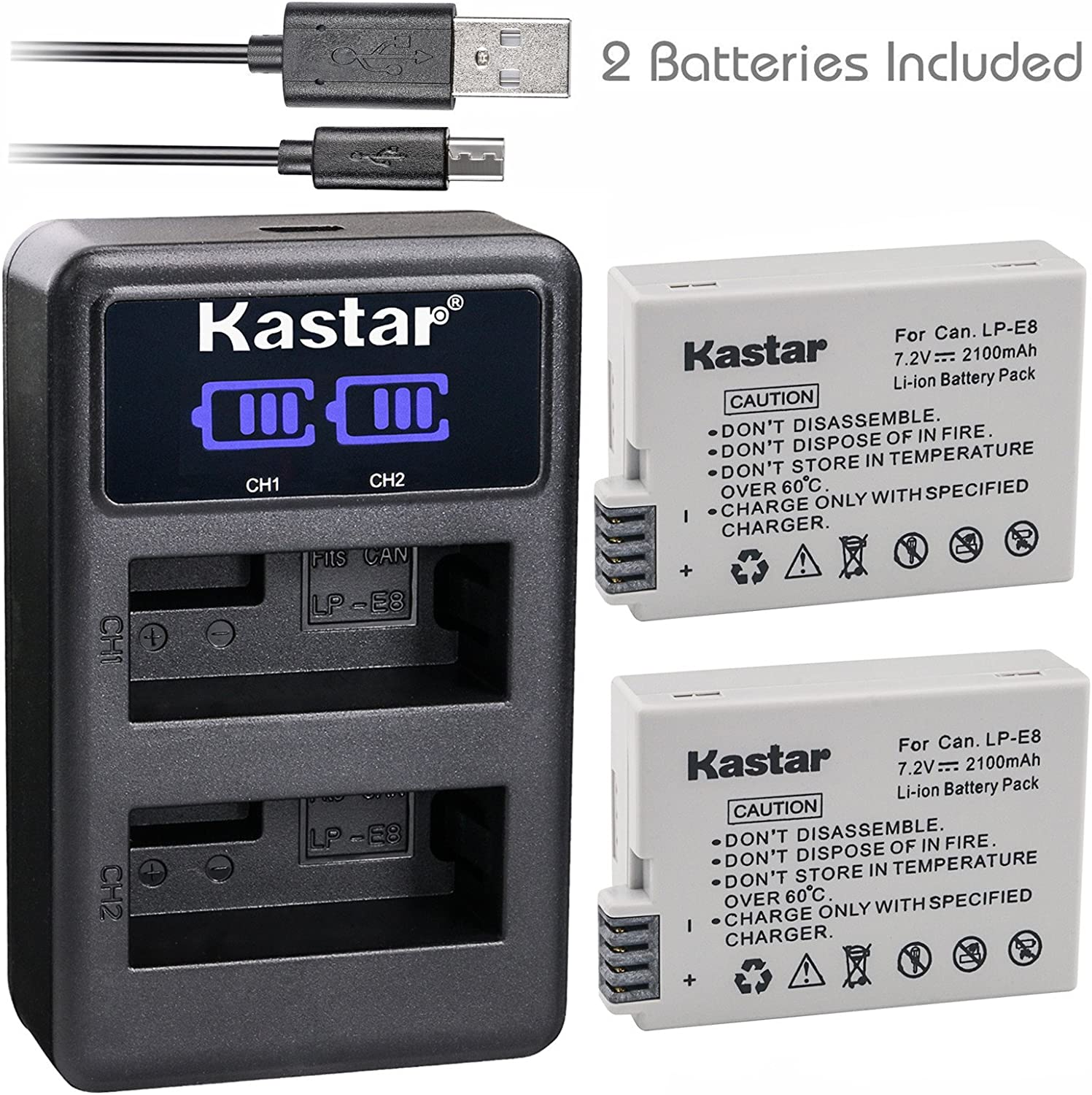 Kastar Battery x2 + Dual LCD Charger for Canon LP E8 LPE8 LC E8 and Canon EOS Rebel T2i T3i T4i T5i, Canon EOS 550D EOS 600D 650D EOS 700D, Canon EOS