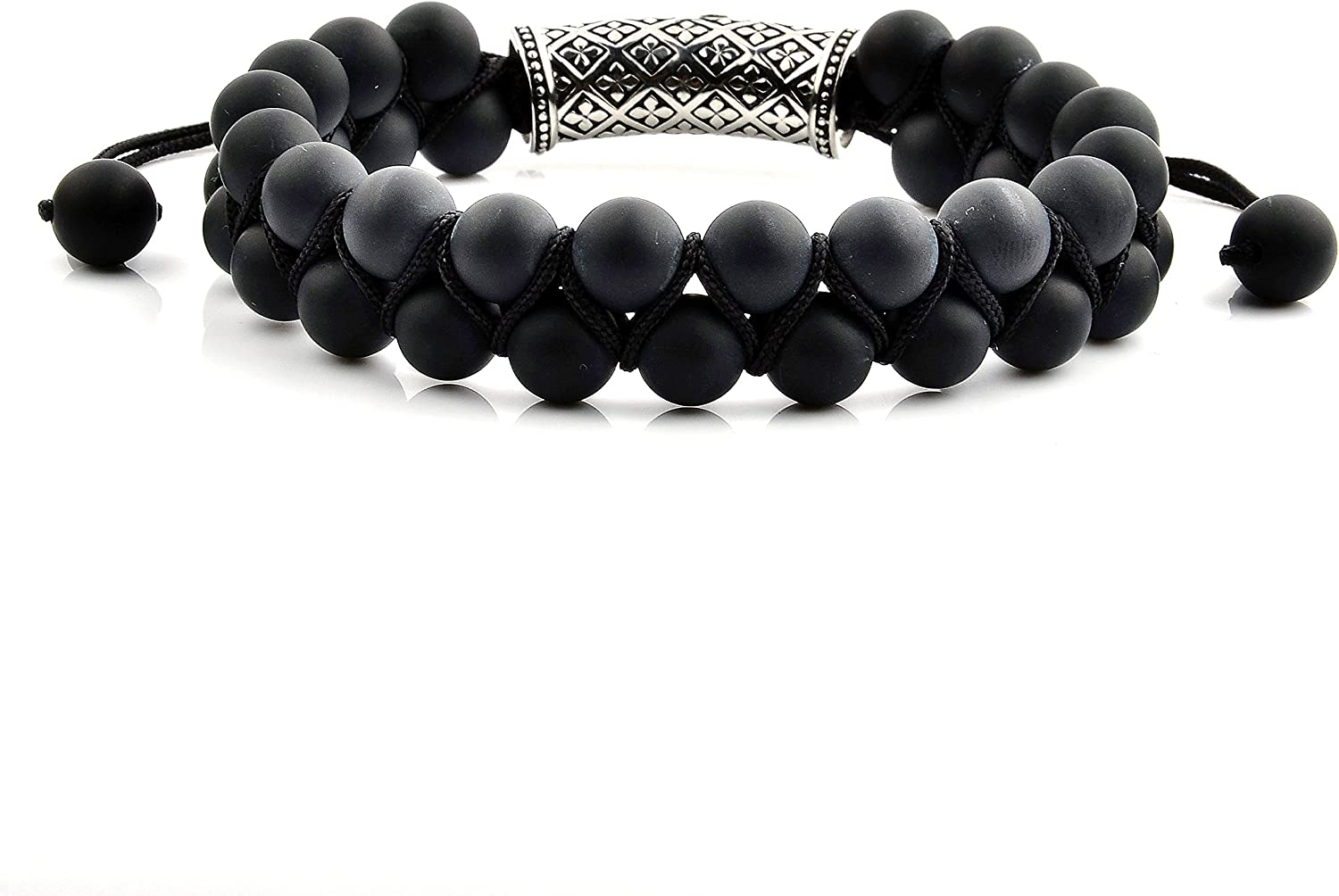 West Coast Jewelry 15mm Wide Crucible Mens Matte Black Onyx Double Layered Natural Stone Bead Bracelet