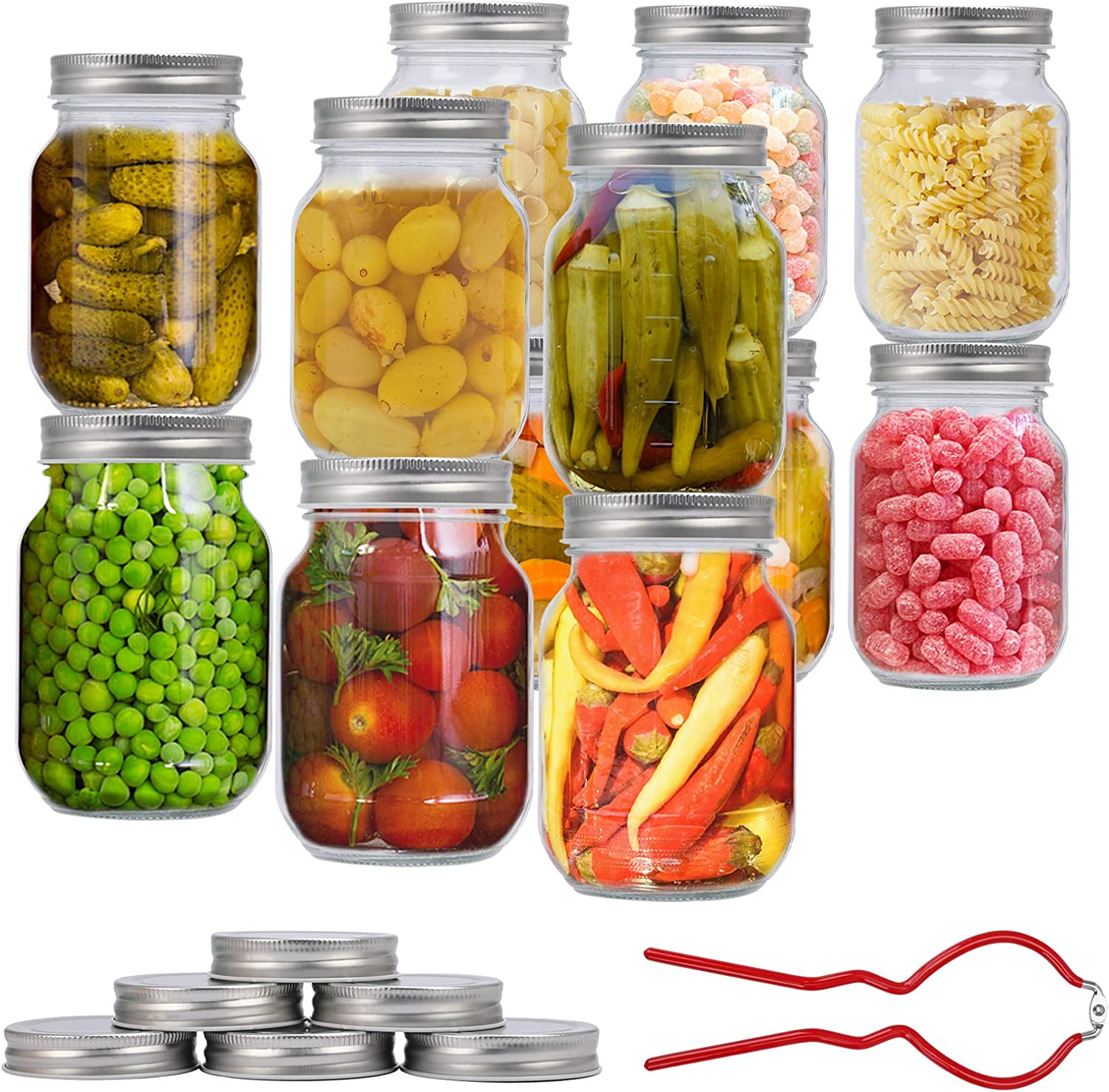 Mason Jars 16 Oz, 12 PCS Glass Regular Mouth Canning Jars with 24 Regular Silver Metal Airtight Lids & Corkscrew, for Jelly, Jam, Honey, Baby Foods, Spices and Dry Food Storage