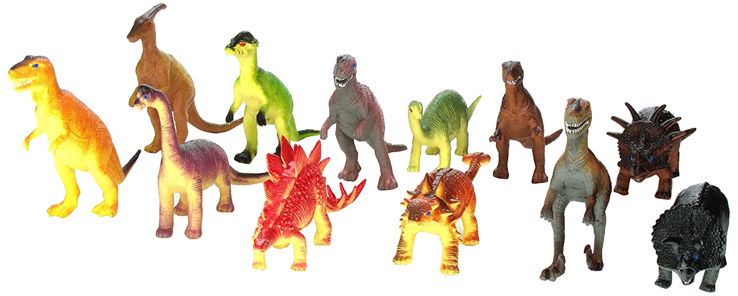 Rhode Island Novelty Assorted Jumbo Dinosaurs Up to 6 Long Toy Figures 12-Pack Flat River Group PADINO5