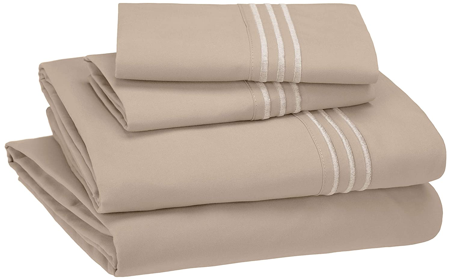 AmazonBasics Embroidered Hotel Stitch Sheet Set - Premium, Soft, Easy-Wash Microfiber - Queen, Taupe