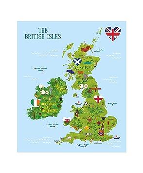 British Map Wandtattoo Aufkleber Karte Von Grossbritannien