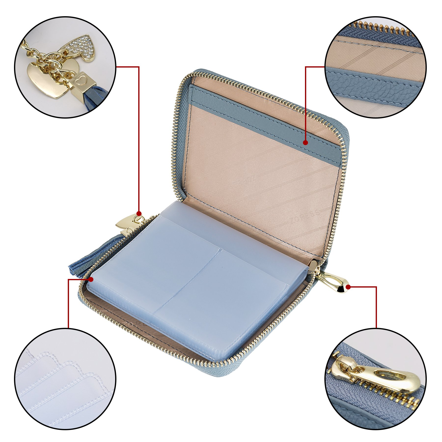 SafeCard 40 Card Solts Women's Credit Card Case Wallet 2 ID Window and Zipper Card Holder (40 Card Blue) by ZORESS (Image #6)