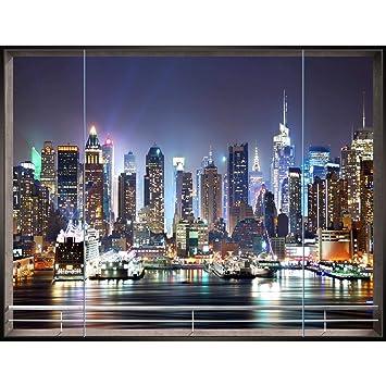 Fototapeten Fenster nach New York 352 x 250 cm Vlies Wand Tapete Wohnzimmer  Schlafzimmer Büro Flur Dekoration Wandbilder XXL Moderne Wanddeko - 100% ...