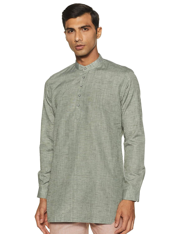 Integriti Men's Cotton Kurta (CLB-SK-3048_ Green_ Medium)