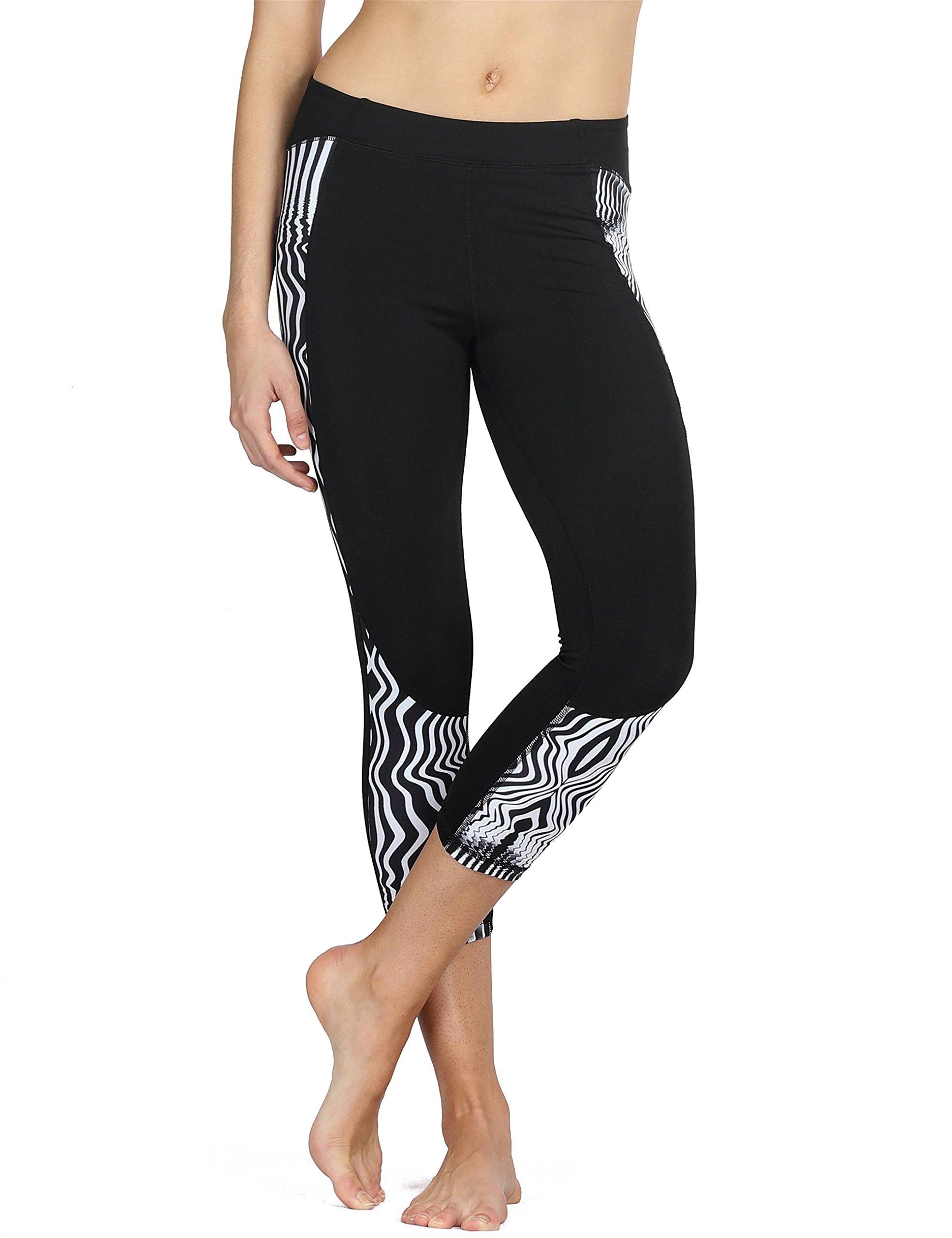 b15c0d19375f7 Galleon - Icyzone Capri Yoga Pants Athletic Leggings Workout Clothes  Fitness Tights For Women (L, Zebra-Stripe)