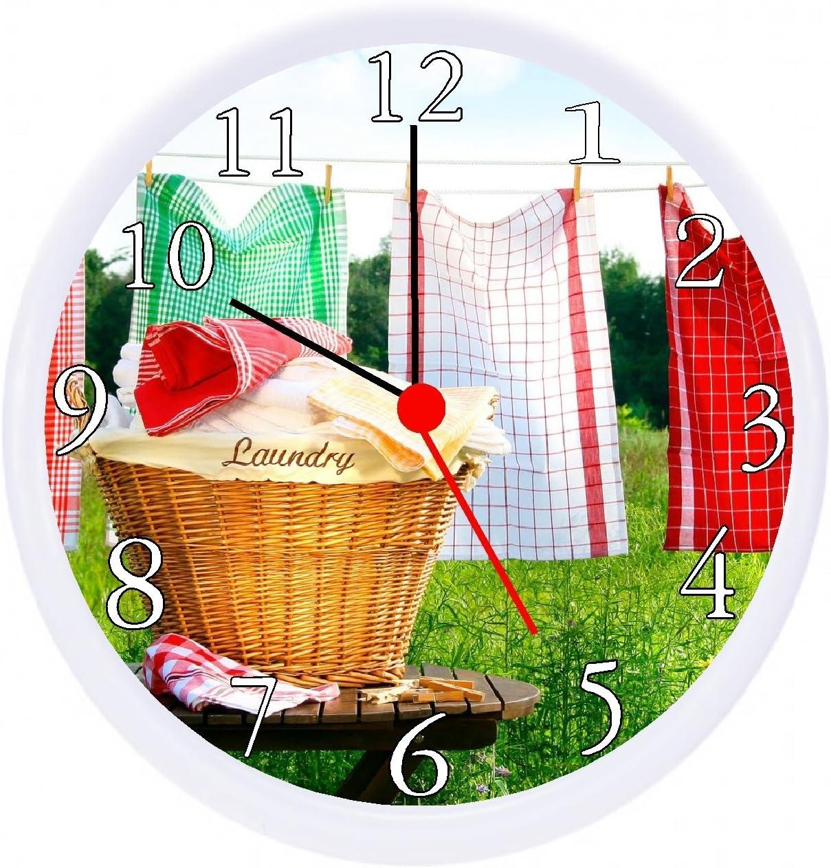 """Quartz Laundry Room Wall Clock 10"""""""