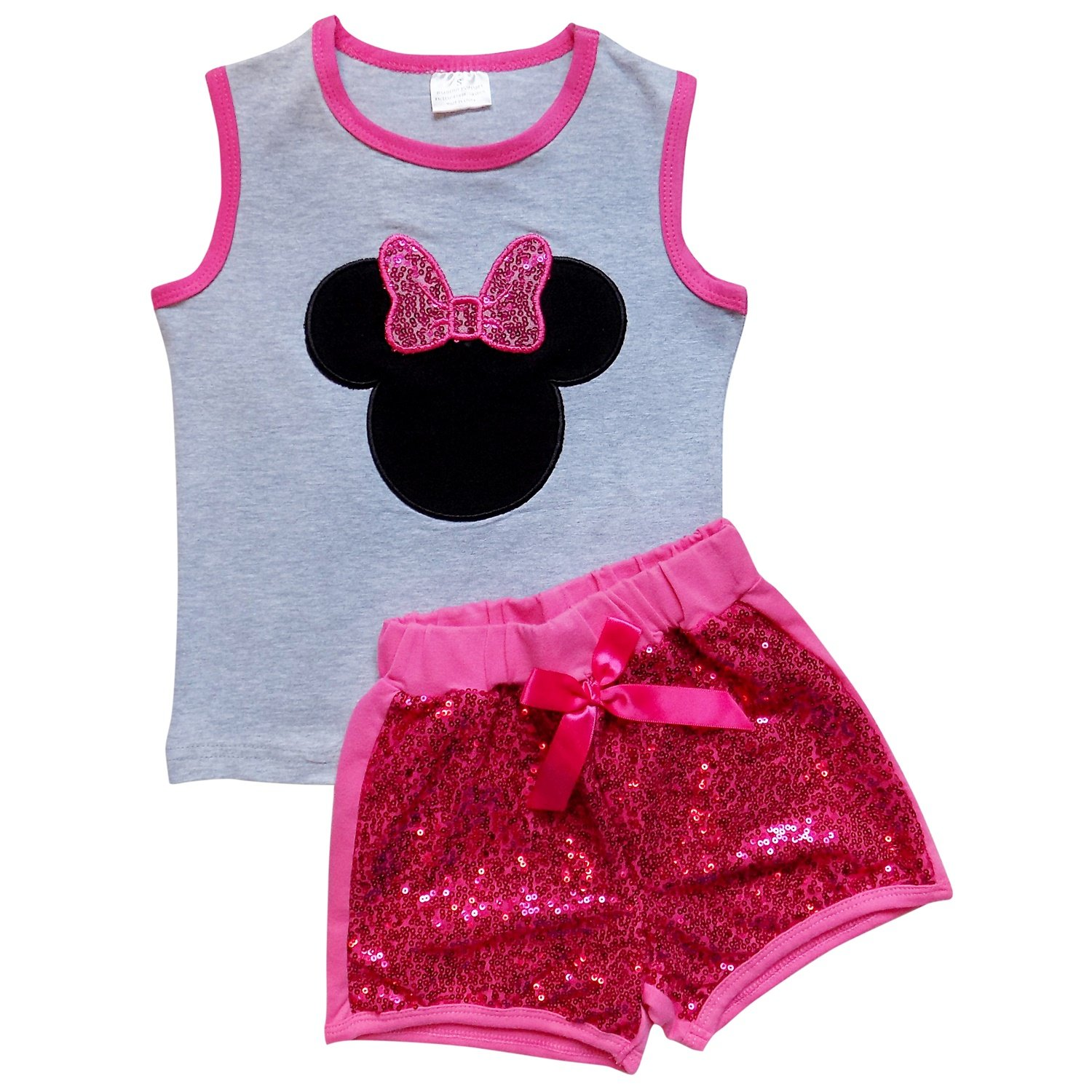 So Sydney Girls Toddler Sequin Novelty Summer Pool Beach Vacation Shorts Outfit (M (4T), Mouse Hot Pink)