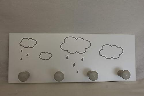 Perchero de pared Infantil Lacado en Blanco con diseño NUBES ...