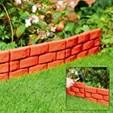Parkland® Terracotta Pack of 4 Instant Brick Effect Garden Border Lawn Edging Plant Border - Simply Hammer In