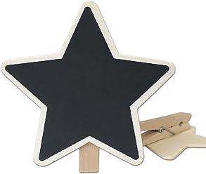 EinsSein 12x Kreidetafel Stern Klammer 8,5cm Star Clip Tischkarten Hochzeit