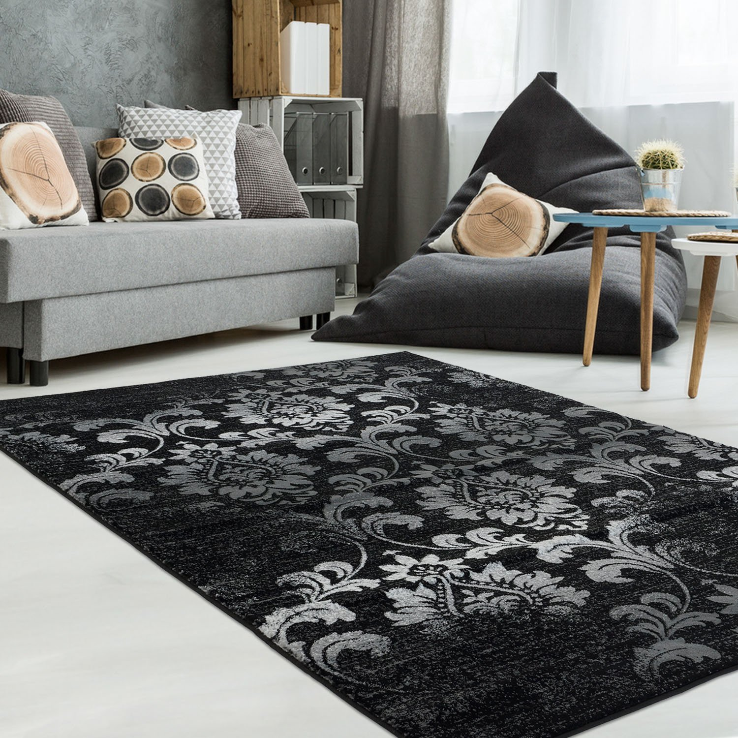 Ladole Rugs Black Grey Stylish Floral Modern Soft Beatuiful Area Rug Carpet, 8x11