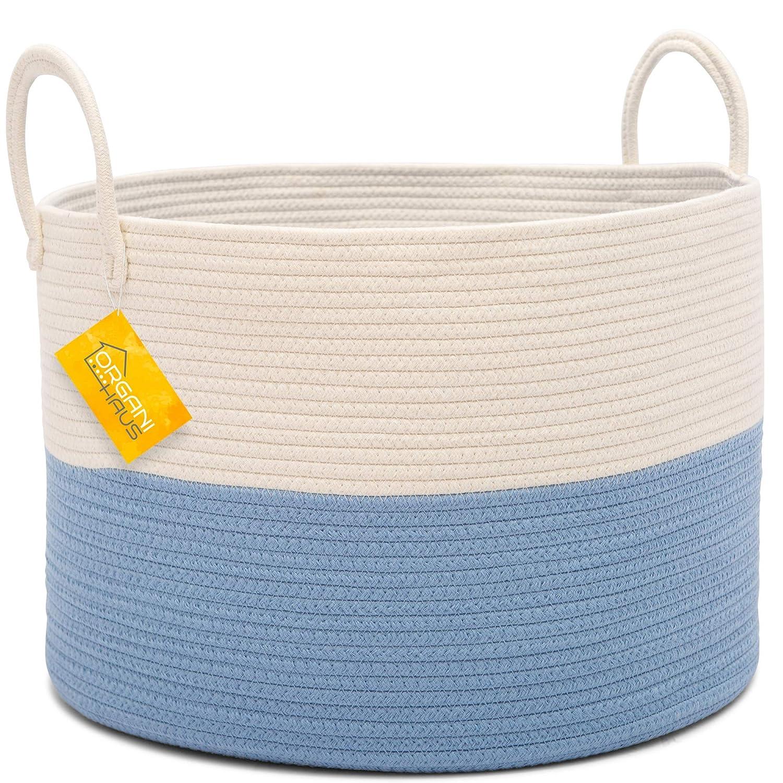 OrganiHaus Cotton Rope Nursery Baskets Tall Pink