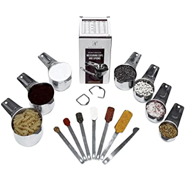 Stainless Steel Measuring Cup and Spoon Set by Novalya – 13 Pcs: 7 Nesting Cups and 6 Stackable Spoons - Bonus 1 Leveler - Durable Cookware and Bakeware Tools - Dry and Liquid Ingredients