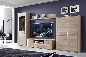 Wohnzimmerschrank Wohnwand Schrankwand Anbauwand Fernsehwand Wohnzimmerschrankwand Wohnschrank Sonoma Eiche