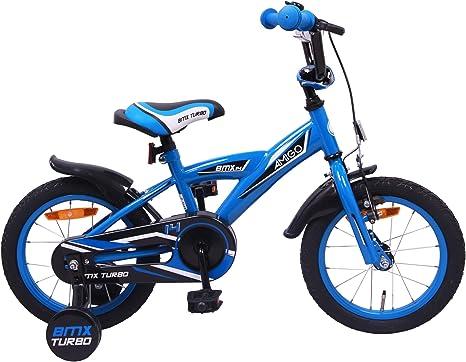 AMIGO BMX Turbo - Bicicleta Infantil (14 Pulgadas, Ruedas de Entrenamiento y Freno de Posavasos), Color Azul: Amazon.es: Deportes y aire libre