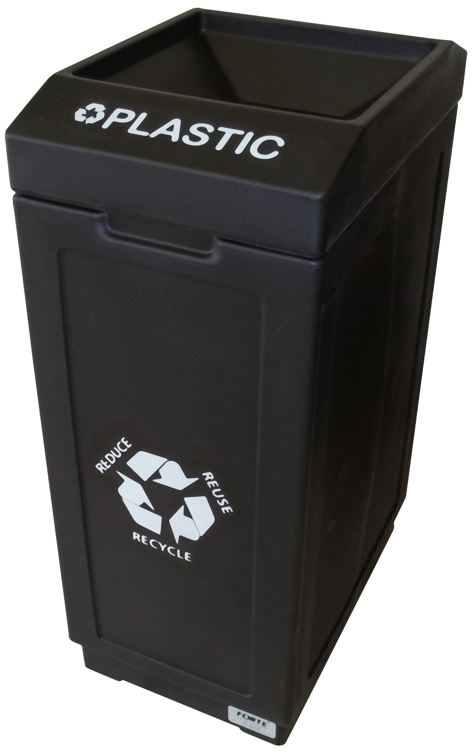 Forte Products 8001844 Open Top Recycle Bin with Plastic Graphic, 14.5'' L x 21.5'' W x 36'' H, Black
