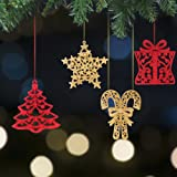 Valery Madelyn 24ct 10-13cm Red and Gold Sparkling Essential Christmas Ornaments Set Glittery Christmas Decoration-Tree, Snowflake, Candy Cane and Gift Box,24 Pcs Metal Hooks Included